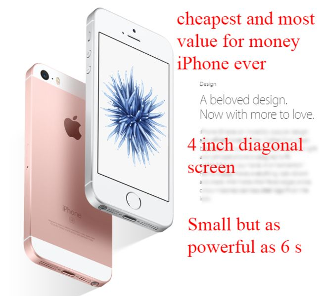 Cheapest and most value for money Apple phone  Best Price Guarantee New 16GB iPhone SE 16GB model 4 inch size as powerful as iphone 6 model yet cheaper by 40%